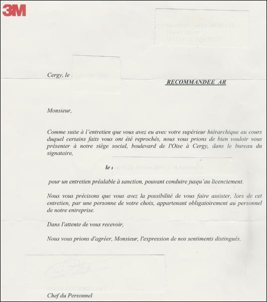 Modele lettre licenciement pour motif personnel